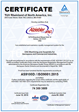 AS9100 ISO 9001 Certificate
