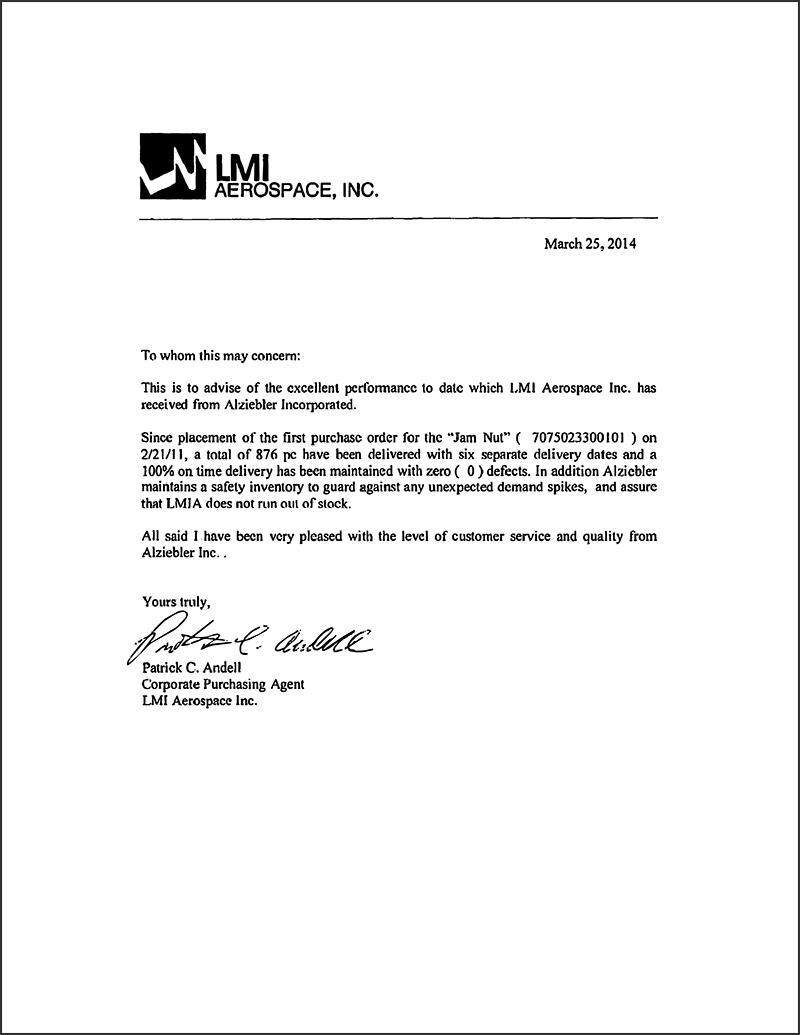 lmi aerospace letter