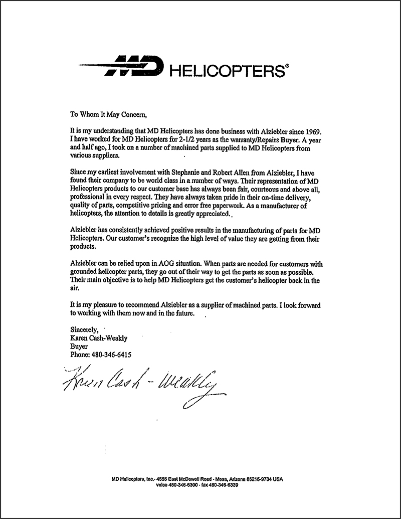 md helicopters letter