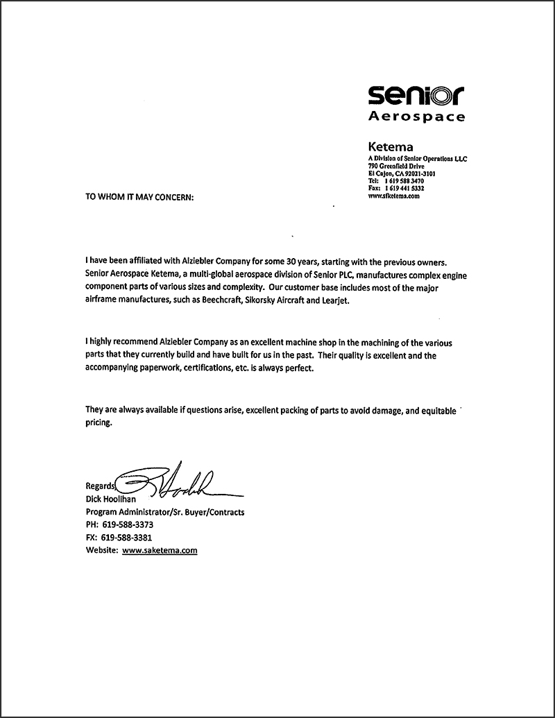 senior aerospace letter